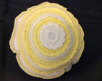 Handmade Yellow and White Round Crochet Cushion Alternative Pattern