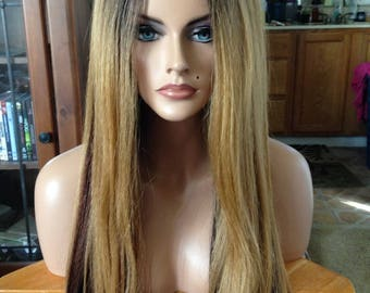 Free Shipping - Lace Front Wig - High Quality Synthetic Hair - Multi Colored Balayage Wig - Long & Straight - Comfortable Fit - Chic