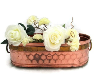 Large Copper and Brass Footed Planter