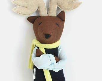 Deer doll, stuffed animal cloth doll, ooak soft toy, cool woodland plush doll, unique softies, modern kids room nursery decor gift