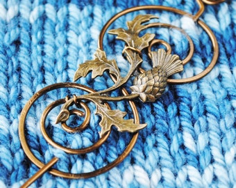 Outlander Shawl Pin in Bronze with Scottish Thistle