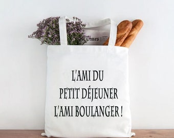 Bag with bread, natural cotton Tote bag: breakfast friend...