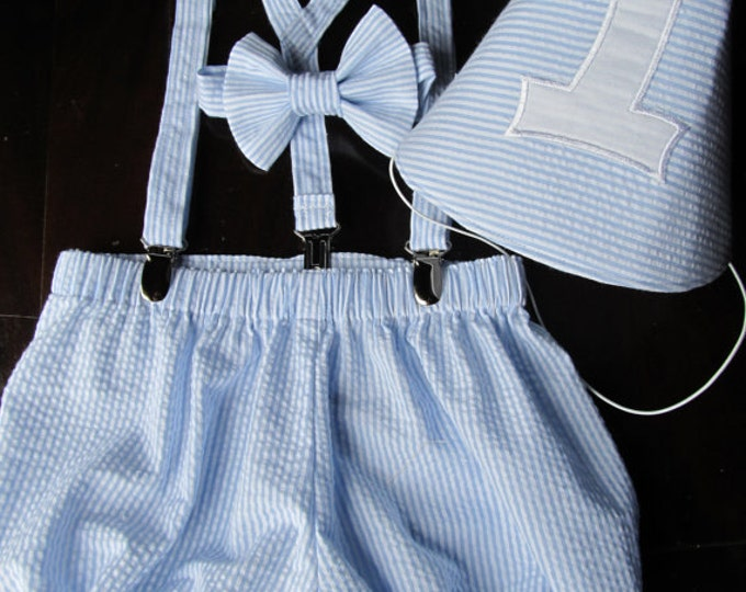 Seersucker Birthday Set; Bow tie, Suspender, Diaper Cover, and Party Hat handmade by TwoLCreations