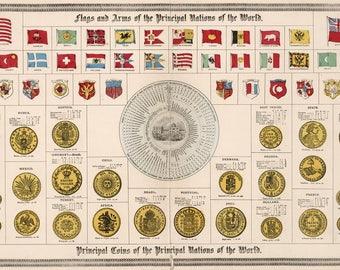 Old map of Principal coins at 1892, fine art print