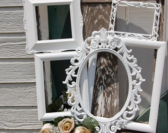 Farmhouse PICTURE FRAMES Set- White Shabby Chic Frames - Gallery Wall - Vintage Wall Frames - Upcycled Collection
