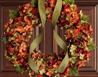 Fall Blended Hydrangea Wreath | Fall Door Decor | Door Wreath | Autumn Wreaths | Front Door Wreaths | Outdoor Wreaths | Hydrangea Wreaths