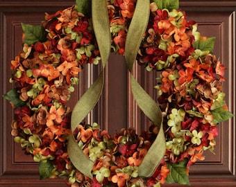 Fall Blended Hydrangea Wreath | Fall Door Decor | Door Wreath | Wreaths |  Front Door Wreaths | Outdoor Wreaths | Hydrangea Wreaths
