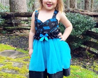 Cheerleader tutu dress: Carolina, cheer your team, blue & black, panthers, birthday party, football game, halloween, favorite sports team