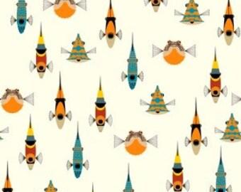 Charley Harper Tropical Fish Half-Yard Organic Knit Fabric