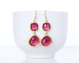 Fuchsia earrings. Fuchsia and Gold Earrings. Hot Pink Bridesmaids Earrings Red Earrings Red Bridesmaids Jewelry