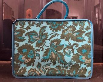 Vintage tapestry overnight bag - suitcase - travel bag - luggage