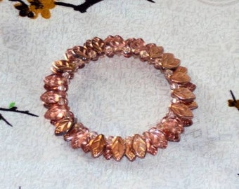 Apollo Rose Gold  Glass  Leaves - Beaded Memory Wire Wrap Bracelet