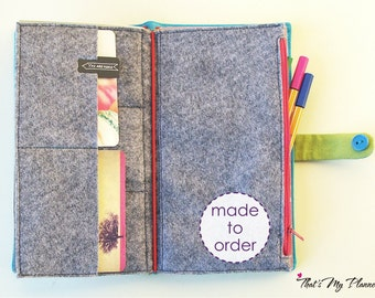 Midori insert Standard Regular size - GREY - Felt Zip Up Wallet Card Holder - Pencil Case - Travelers Notebook Fabric Insert