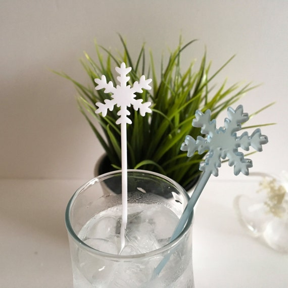 Acrylic Snowflakes Drink Stirrers Laser cut snowflakes Frosted Snowflake ornaments Christmas decorations Birthday party picks Swizzle sticks