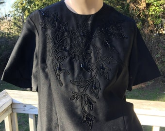3 Vintage Black Summer Separates 60s 70s Bohemian Chic Beaded BlouseCottage Chic Blazer Skirt 14