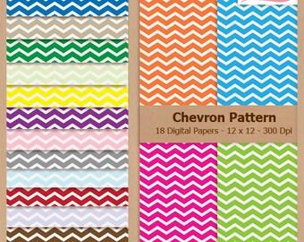 Digital Scrapbook Paper Pack - CHEVRON PATTERN - Instant Download