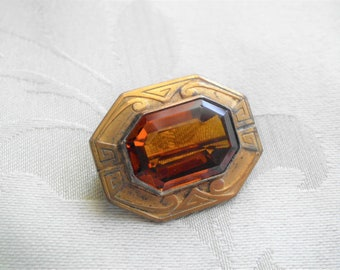 Old Vintage Amber or Topaz Glass Brooch
