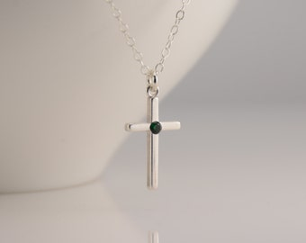 Cross necklace. Birthstone cross necklace. Christening gift. Personalized cross necklace. Baptism gift, Baptism necklace