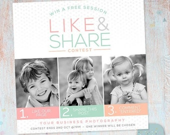 ON SALE Facebook Like Share Comment Promotion Marketing Board - Photoshop template - IB004 - Instant Download