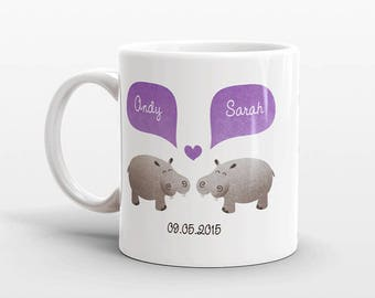 HIPPO Mug Personalized Valentines Day Gift for Husband Couple Mug Hippopotamus Boyfriend Gift Unique Coffee Mug Anniversary Gift Animal Mug
