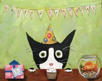 Birthday Cat Art - Silent MyloTuxedo Cat - Happy Birthday Print - 5 x 7 Print - Gift for Cat Lover - Cat Birthday Gift