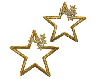 ID 3512AB Set of 2 Gold Star Outline Patch Cluster Embroidered Iron On Applique
