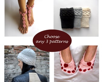 Crochet and Knit Pattern Set - Buy 3 patterns at lower price Combo Deal Discount Package PDF
