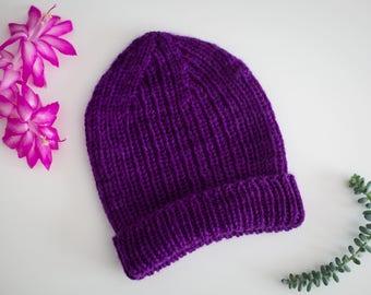 Handknit Baby Hat - purple, size 6 months