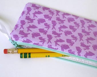 Purple Bunnies Zipper Pouch, choose your size, Coin purse, Pencil pouch for her, Bunny purse for kids, spring gift, earth day