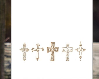 custom personalized hand designed hand drawn original crosses scripture calling cards tags gift tags christmas tags gift