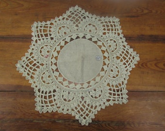 21 inch vintage hand made linen and crochet table topper