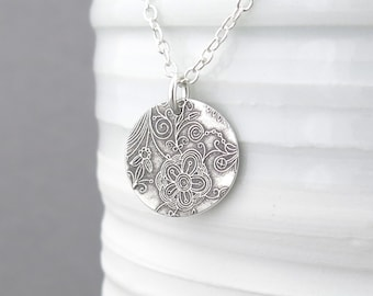 Silver Flower Necklace Silver Necklace Pendant Silver Charm Necklace Silver Circle Necklace Charm Jewelry Bohemian Jewelry - Unique Petite