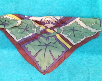 Vintage Woman's Scarf With An Arts and Crafts Design of Leaves with Lines and Circles