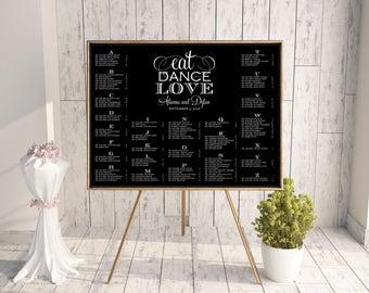 Wedding Seating Chart, DIY Seating Chart, Printable Seating Chart, 18x24, 24x36, 16x20, Rush, Seating Chart PDF, Black White, Eat Dance Love