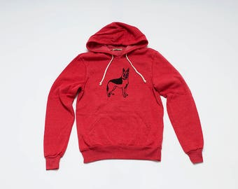 SALE German Shepherd Hoodie, Red Sweatshirt, Soft Sweatshirt, Gym Shirt
