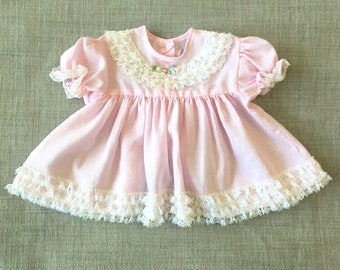 Vintage Baby Dress / Baby Pink Dress / Lace Baby Dress / Polka Dot / Floral Dress / 6 Months / 9 Months