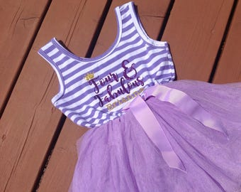 Personalized Four and Fabulous Fourth Birthday Dress