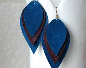 Long Leather Earrings- Leather Earrings- Dangle Earrings- Recycled Earrings- Boho Earrings- Blue Earrings- Layered Earrings