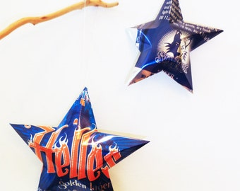 Helles Golden Lager Beer Stars, Christmas Ornaments, Upcycled Aluminum Can, Recycled, Sly Fox Brewing