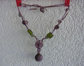 Purple and Green Purple Glass Pearl Necklace / Communion Ceremony Necklace