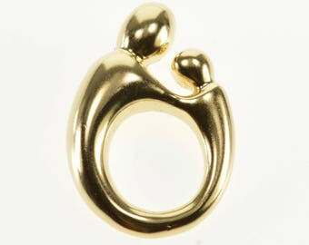 14k Rounded Stylized Parent and Child Pendant Gold