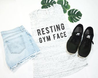 Resting Gym Face, Funny Shirt, Workout Shirt, Exercise Tank, Exercise Clothing, Gym Tank, Womens Workout Tank, Muscle Tank,Everything Hurts