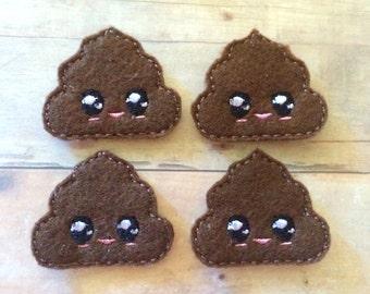 4 kawaii poop felties multiple sizes available