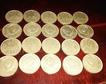 20 Soviet silver 10 kopeks coins in very good condition