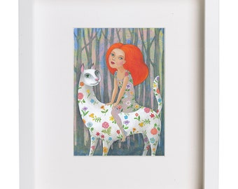 White Panther, print, illustration, painting, A4 (297 x 210mm), (11.7 X8.3 in)