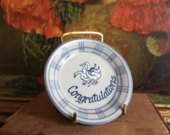 Congratulations Plate Vintage Louisville Stoneware Gaggle of Geese Made in Kentucky USA Blue White Ducks