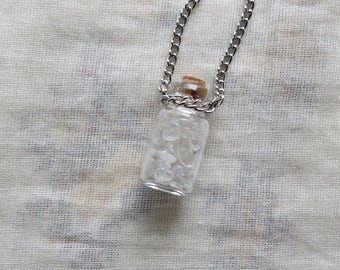 crystal quartz small glass bottle necklace