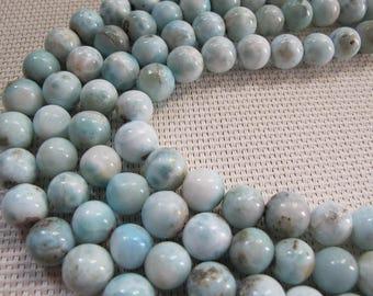 10mm Natural Larimar Round Beads S269