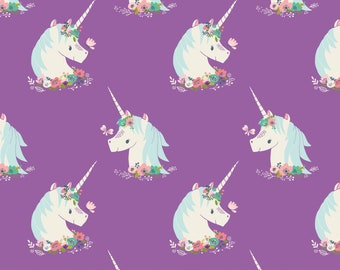 "Unicorns On Orchid, Purple Unicorns, ""I Believe In Unicorns,"" by Heather Rosas for Camelot Fabrics, Quilting-Weight Cotton, By the Half Yard"