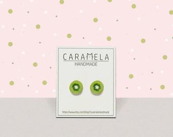 Kiwi Stud Earrings  Fruit stud earrings Post earrings Green earrings Food earrings Round earrings Gift idea